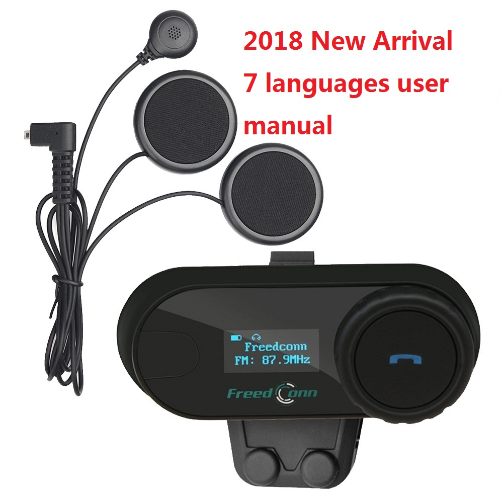 FreedConn 2018 TCOM-SC BT Interphone motocicleta casco de Bluetooth Headset Intercom con Radio FM LCD auricular suave