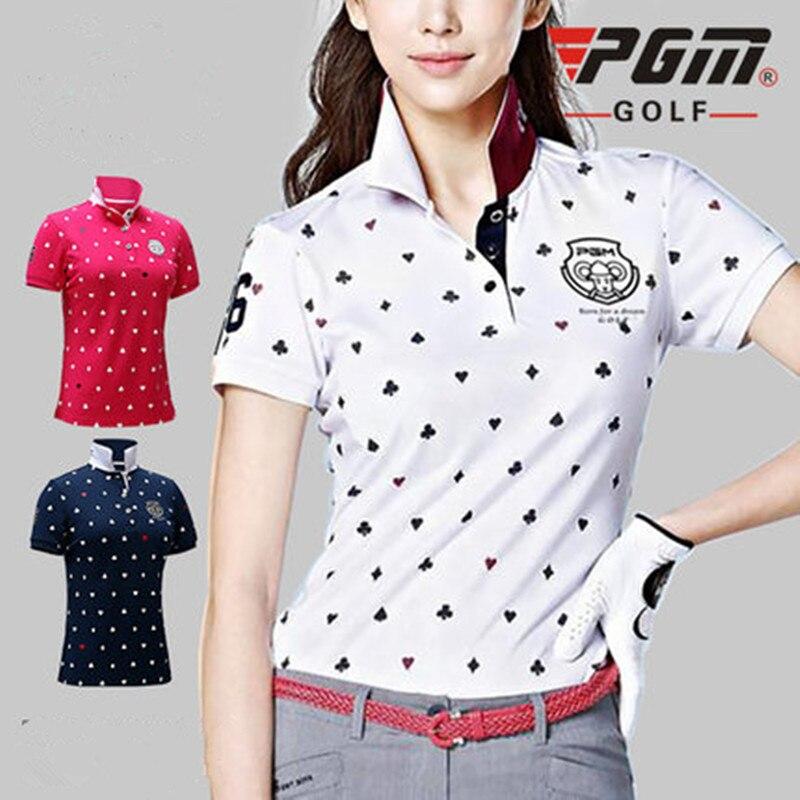 PGM nouveau golf vêtements dames T-shirt respirant golf à manches courtes femmes chemise à séchage rapide respirant tissu doux coréen femmes