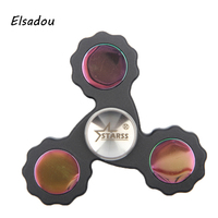 Elsadou Pure Color Colorful Mirror Tri Hand Spinner Plastic Fidget Hand Spinner Toy