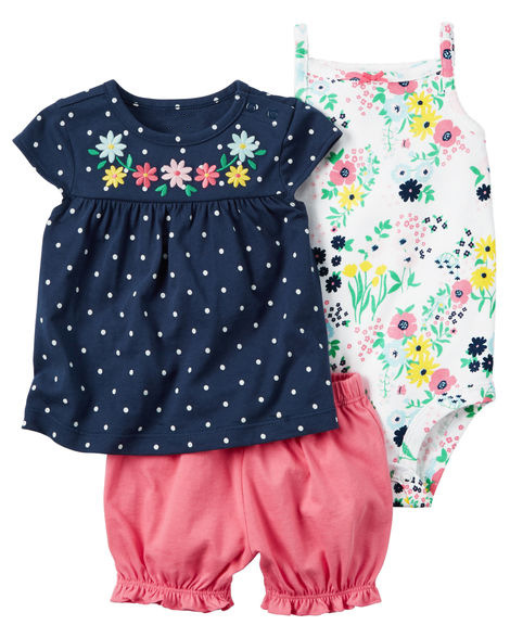 Children baby girl clothes suit Casual jumpsuit T-shirt and shorts 3pcs clothing set newborn toddle girls clothes