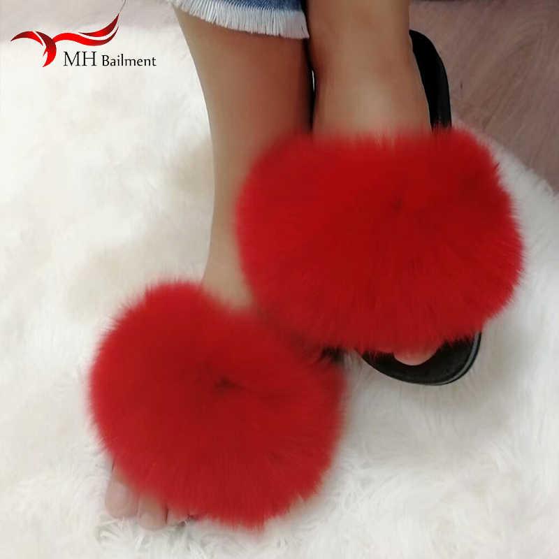 Летние Стильные Удобные натуральный Лисий Мех шлепанцы Нескользящие износостойкие домашние женские пушистые тапочки на платформе женская пляжная обувь