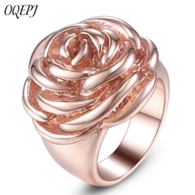 OQEPJ New Fashion Creative Rose Rings 316L Stainless Steel Rosegold Color Jewelry For Women Plant Ring Party High Quality