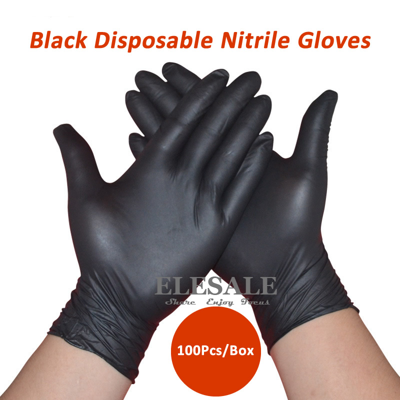 New 100Pcs/Pack Black Disposable Nitrile Gloves Powder Free Ambidextrous For Medical House Industrial Use Tattoo Gloves new safurance 100x industrial disposable nitrile latex gloves powder free small medium large workplace safety