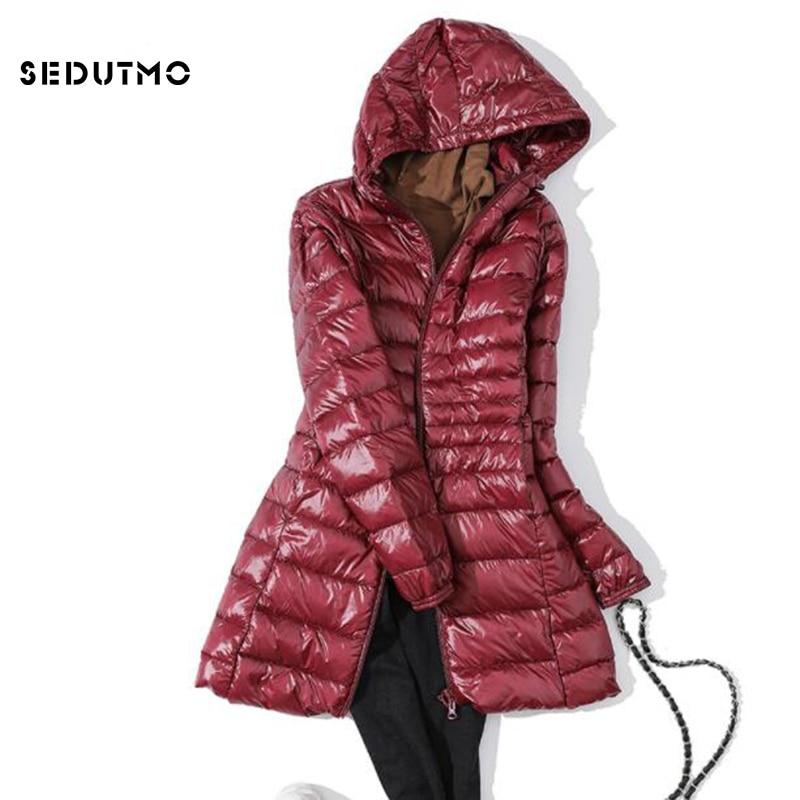 SEDUTMO Winter Ultra Light Long Womens Down Jackets Plus Size 7XL Duck Down Coat Puffer Jacket Slim Hooded Parkas ED621