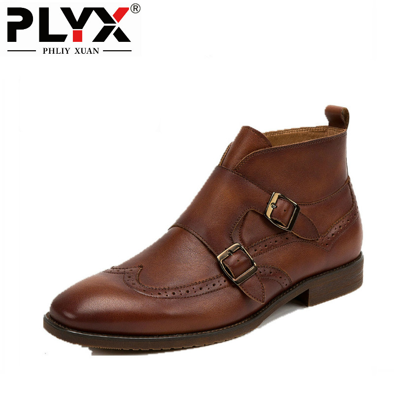 PHLIY XUAN New 2018 Fashion Winter Men Boot Genuine Leather Martin Boots 100% Handmade Cowhide Pointed Toe Drees Ankle Boots