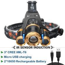 Высококачественный фонарь на голову высокой мощности XML T6 фар ИК-датчик USB 18650 аккумуляторная батарея мощный налобный фонарь фонарик Рыбалка шахтер лампа