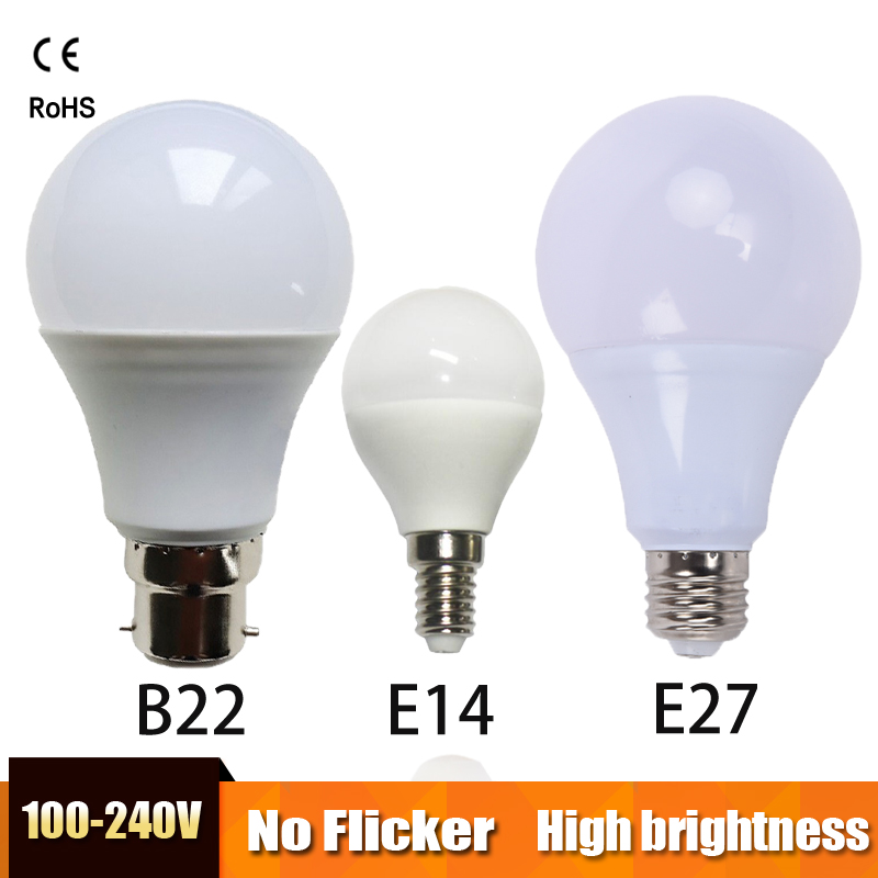 LED Bulb E27 LED light B22 LED lamp E14 Lampada Ampoule Bombilla Real Power 3W 5W 7W 9W 12W 15W 220V Cold/Warm White table lamp no flicker led bulb e27 9w led lamp 15w ac 220v 230v 240v cold white warm white lampada ampoule bombilla led