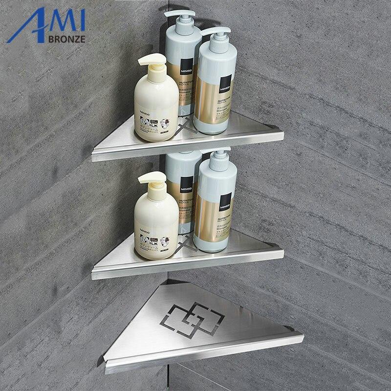Amibronze 304 Stainless Steel Bathroom Shelves Single Dual Triple Tier Triangle Corner Shelf Shampoo Shelf Kitchen Shelf