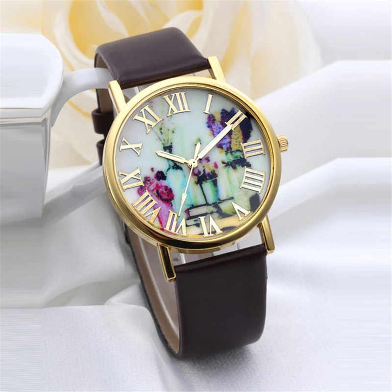 2018 высокое качество вазы циферблат Женская мода Повседневная часы Роскошные платья дамы кварцевые часы Аналоговые кожа Для женщин подарок часы # D
