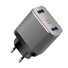 SOONHUA Dual Port LED Display USB Mobile Phone Charger EU US Plug Wall Charger 5V 2.4A Smart Fast Charging For iPhone Samsung