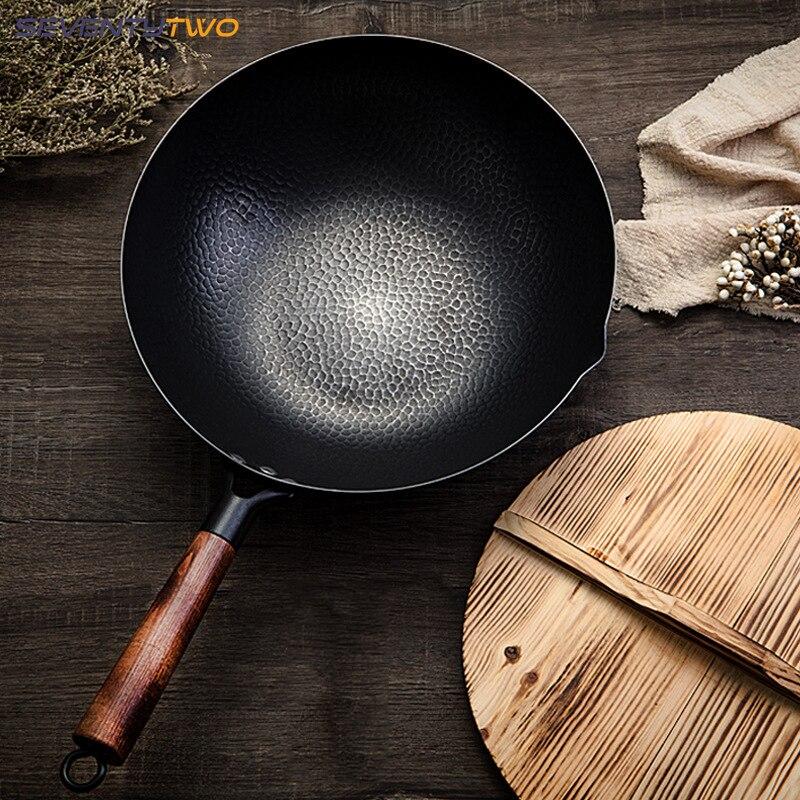 Casserole de fer de 32 cm poêle saine Non revêtue casserole antiadhésive cuisinière à gaz ustensiles de cuisine gril général poêle sans fumée avec couvercle en bois