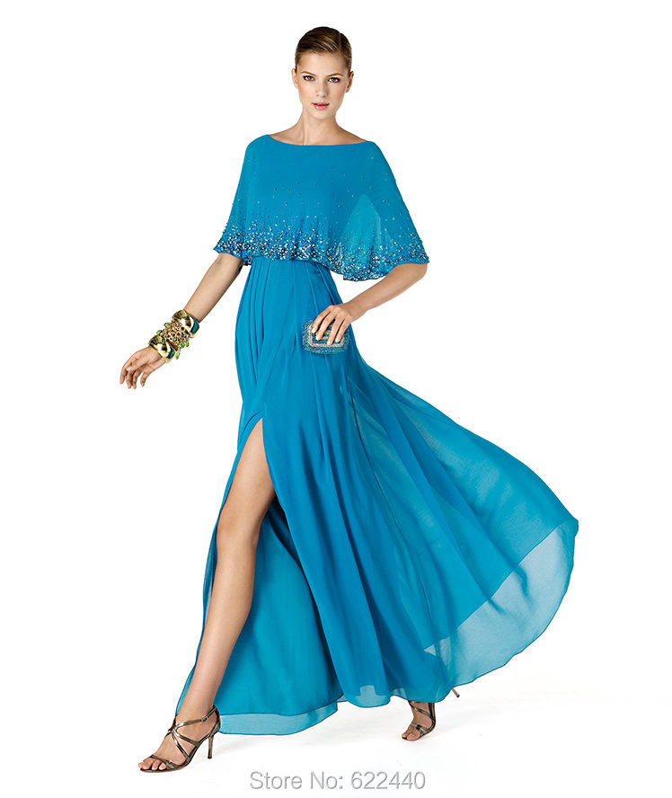 Unique Designer Splint Front Evening Dresses With Beaded Shawl ...