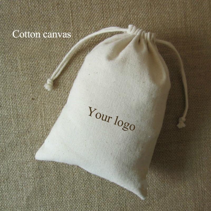 Cotton Canvas Gift Bag Jewelry Packaging Drawstring Pouch Wedding Shoe Bottle Party Gift Sachet Pocket Custom Logo Print 50PCS