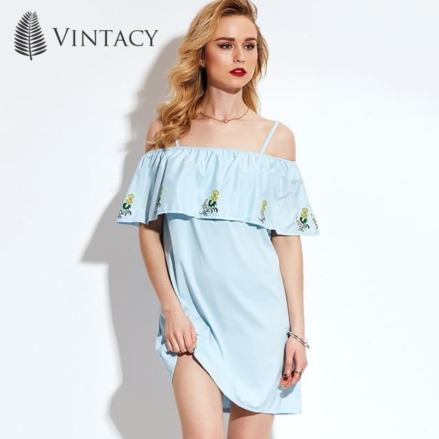Vintacy Women Mini Dress Off Shoulder Slash Neck Light Blue Short Dress  Summer Ruffles Floral Sexy Embroidery Casual Loose Dress 6966933d4