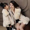 Venta caliente Nuevo Abrigo de Pieles Familia Madre E Hija de Ropa Trajes A Juego Rosado Gary Púrpura Ropa AF-1773