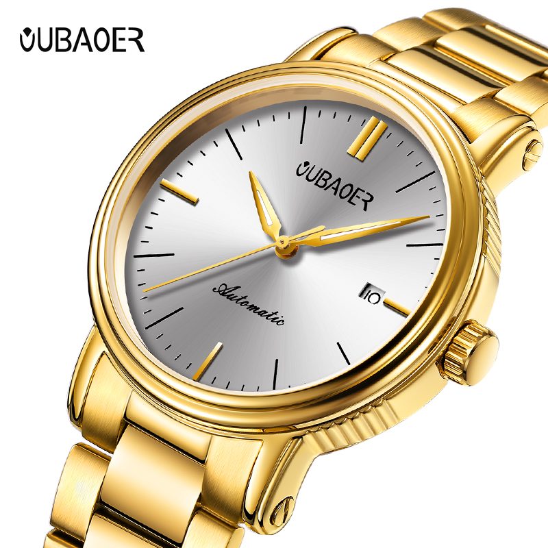 OUBAOER Automatic Mechanical Men Watch Top Brand Luxury Stainless Steel Mens Watches Military Sport Skeleton Male Clock Hot цена
