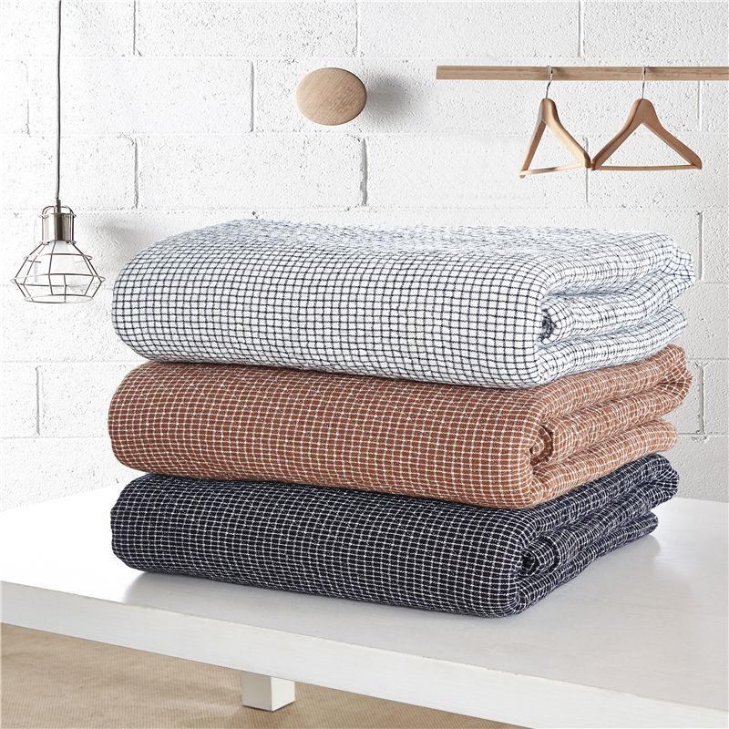 100% Cotton Yarn knitted Grey Brown Black Plaid Blanket ...