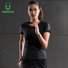 2017 Hot Sexy Female Sports Solid Gym Fitness T Shirt Women Yoga Clothes Running Top Clothing Breathable Lady Compression