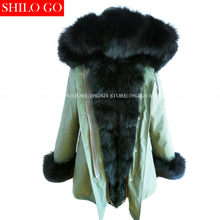 Plus 2016new winter military inexperienced jacket girls outwear thick parkas pure actual fox fur collar black rabbit coat hooded pelliccia