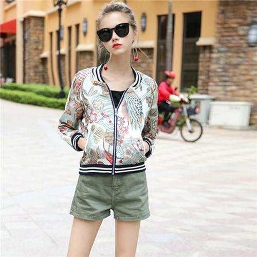 Women's Embroidery Bomber Jacket 2017 Autumn High Quality Floral Printed Jacquard Black & White Striped Trim Ladies Short Coat striped trim fluffy panel bomber jacket