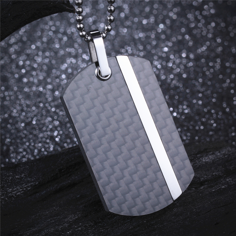 Men's Black Silver Necklace & Pendant Genuine Carbon Fiber with Steel Combination Design Punk Dog Tag 22 inch Ball Chain CF011P stylish pu leather chain titanium steel pendant punk necklace silver black
