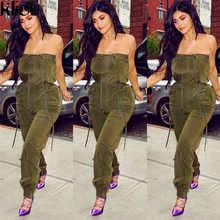 Kliou 2018 New Army Green Lace Up Jumpsuits Ladies Summer Bodysuit Sexy Low Cut Spaghetti Strap Off Shoulder Solid Jumpsuits(China)