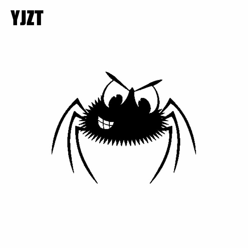 YJZT 18CM*14CM Scary Spider Car Sticker Vinyl Decal Creepy Fun Decor Black/Silver C19-0268
