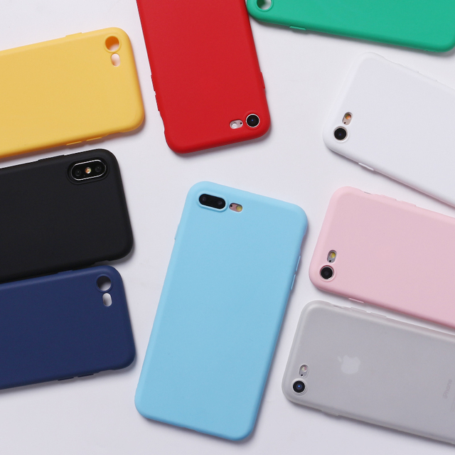 For iPhone 7Plus 7 6Plus 6S 5S 8 8Plus X Silicone Solid Candy Colorful Simple Soft Phone Thin Case Fundas Capa Coque Back Cover