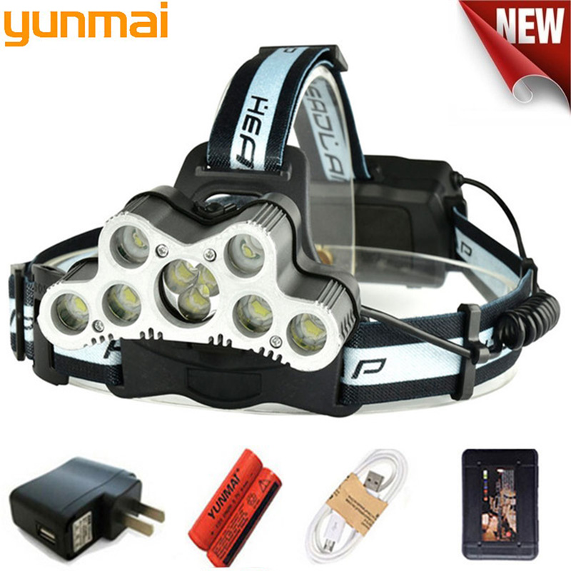 New 10000LM USB 9 LED Led Headlamp Headlight Head Flashlight Torch XM-L T6 Head Lamp Rechargeable Use 18650 Battery For Camping