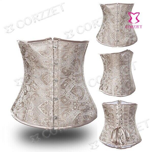 Gothic Clothing Latex Waist Cincher Trainer Beige Dobby Underbust   Corset  &   Bustier   Women Hot Body Shapers Waist Trainer   Corsets