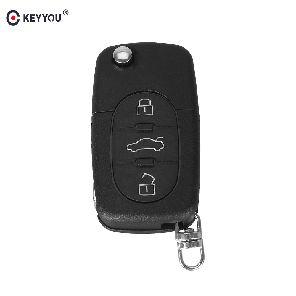 KEYYOU 3 Button Remote Key Fob Case Shell & Blade for Audi A2 A3 A4 A6 A8 TT CR2032 Fob Blank Case Free Shipping free shipping 3 button flip key shell for cr2032 big battery type2 for audi 10 piece lot