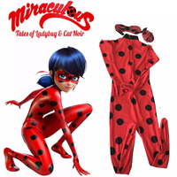 The Miraculous Ladybug Cosplay Costume Halloween Kids Girls Ladybug Marinette Child Lady Bug Spandex Full Lycra