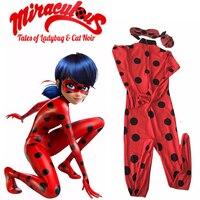 The Miraculous Ladybug Cosplay Costume Halloween Kids Girls Ladybug Marinette Child Lady Bug Spandex Full Lycra