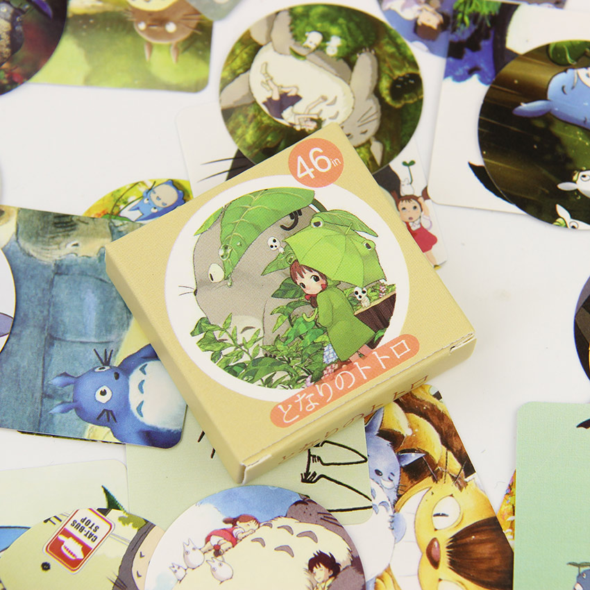 46PCS/pack Cute Totoro Stationery Stickers  Kawaii DIY Scrapbook Sticky Material Escolar School Supplies