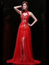 Red Homecoming Dresses with Detachable Skirt Elegant Lace Halter Sleeveless Sexy Keyhole Back Short Prom for Party