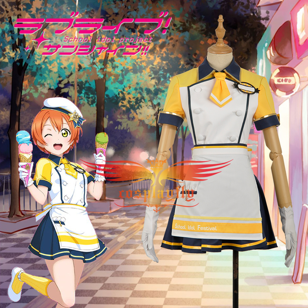 Love Live! Unawakened Ice Cream Hoshizora Rin Cosplay Costume Adult Women Outfit Clothing Maid Short Girl Dress with Hat W1207-2
