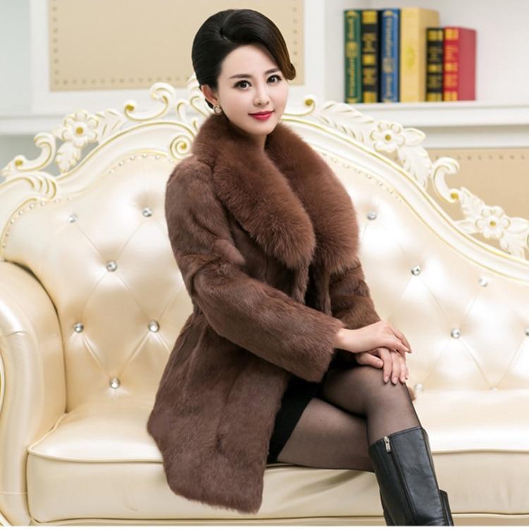 real rabbit fur coats for women black color genuine fur jacket with fox fur collar slim