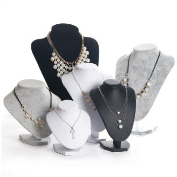 black gray Black PU Model Bust Show Exhibitor 6 Options Gray Black White Velvet Jewelry Display Necklace Pendants Mannequin Jewelry Stand