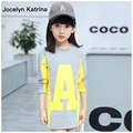Jocelyn Katrina Niños Niñas Camiseta de Algodón Carta Patrón Muchachas de la Manga Larga T-shirt de Moda Los Niños Pequeños Niñas Ropa 7-16Years