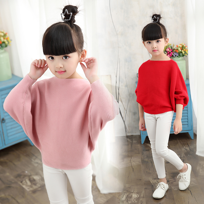 2019-autumn-children's-clothes-girls-knitted-sweaters-solid-thin-girl-bat-sweaters-for-girls-big-kids-pullovers-sweater