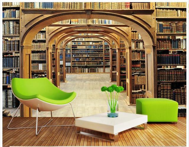 Woonkamer Met Bibliotheek : 3d foto behang custom 3d muurschildering behang mode bibliotheek