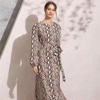 2019 summer New Women Bow belt Dress Snake skin pattern Muslim long dresses Long Sleeve Ankle Length Plus Size