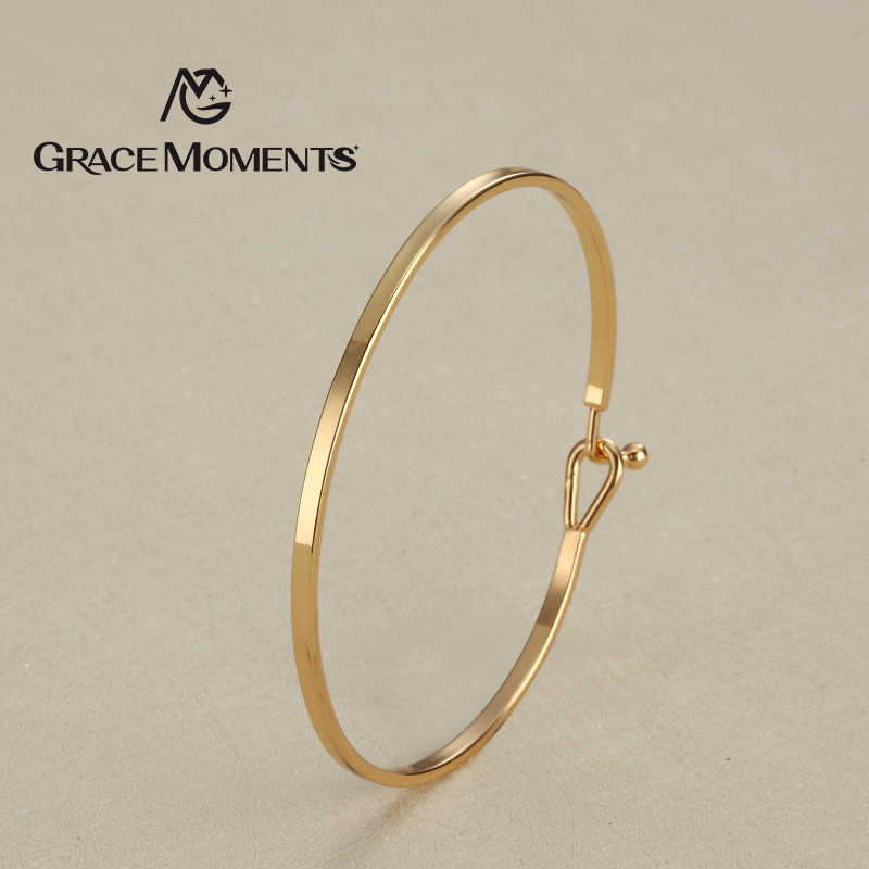 2pcs/lot GRACE MOMENTS New 62mm DIA 2.5mm Width Copper Bracelet Bangle & Bracelet DIY Gold and Silver Color Women Jewelry Gift