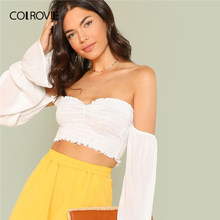 90b85a81925 COLROVIE White Off the Shoulder Shirred Crop Top Bardot Boho Blouse Shirt  Women 2019 Summer Long Sleeve Holiday Ladies Blouses