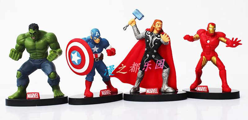 4 pz/set 10 centimetri The Avengers figure super hero giocattolo della bambola hulk Capitan America thor Iron man Spedizione Gratuita