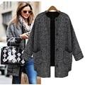 2014 nuevas mujeres de invierno de las mujer lana mezclas abrigo prendas de vestir exteriores gris tallas grandes europea moda abrigo #16 18