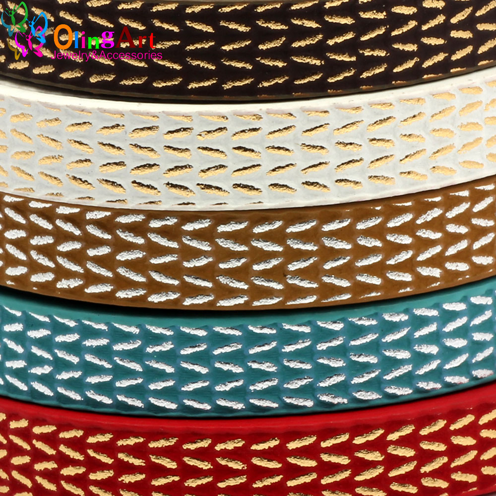 OlingArt The Newest 10MM 1Yard/lot PU Gold /Silver Wire Flat Leather Cords /accessories/DIY Bracelet Necklace Jewelry Making
