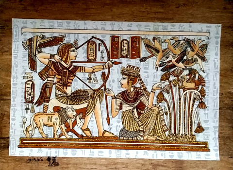 Wall Art Decor Egyptian Hand Made Papyrus Painting Tutankhamon Hunting  Birds 12x16 No Frame For Home And Office Decoration In Painting U0026  Calligraphy From ...