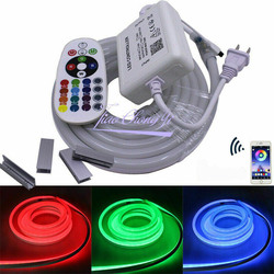 1 020 M 30 M 50 M 110 V/220 V 5050 60LED/M RGB LED streifen neon lichter IP67 wasserdicht mit 24key RGB Bluetooth controller kit