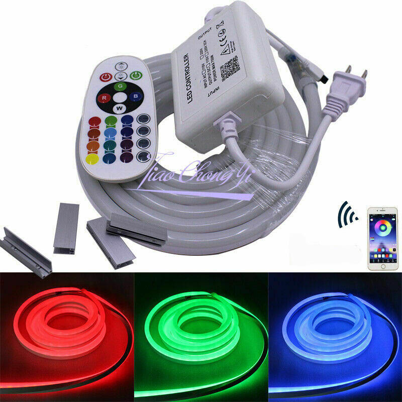 1 020M 30M 50M 110V/220V 5050 60LED/M RGB LED strip neon lights IP67 waterproof  with 24key RGB Bluetooth controller kit1 020M 30M 50M 110V/220V 5050 60LED/M RGB LED strip neon lights IP67 waterproof  with 24key RGB Bluetooth controller kit